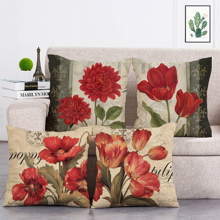 Цветочная подушка, Чехлы, цветные цветы, наволочки для дома, дивана, спальни, розовые красные розы, декоративные наволочки, T73