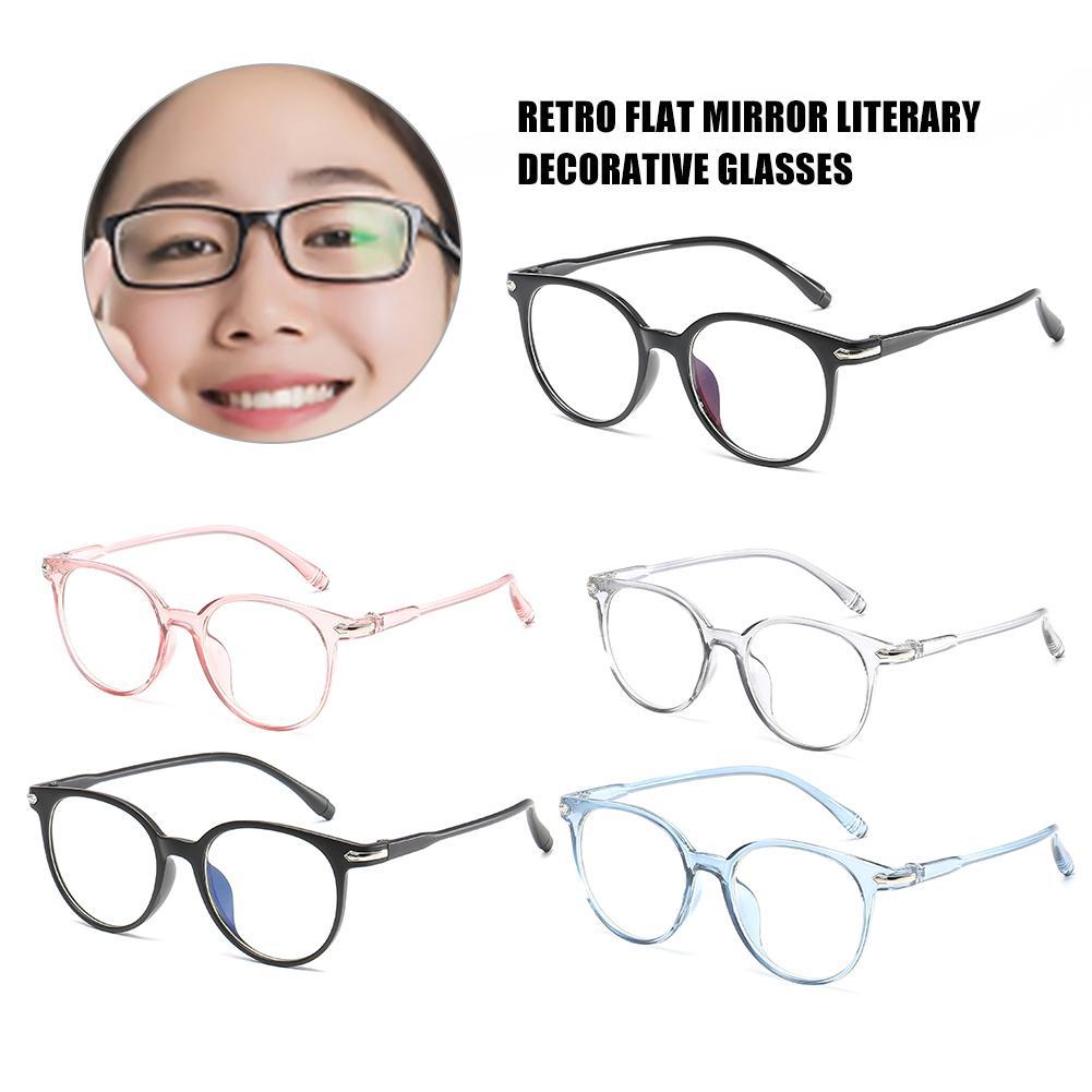 Glasses Frame Glasses Frame Retro Flat Mirror Literary Decoration Glasses Comfortable Light Frame Blue Film Flat Glasses
