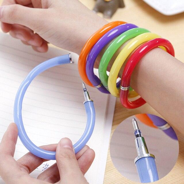 Creative Flexible Ball Pen Cute Soft Plastic Bangle Bracelet Ballpoint Pens School Office Gifts Supplies Promotional Pen