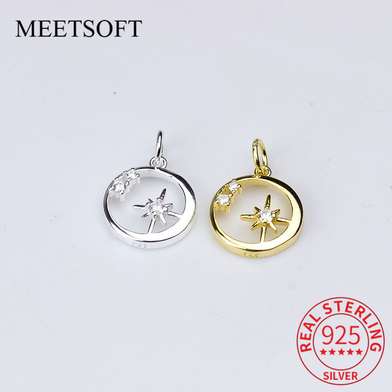 MEETSOFT 925 Sterling Silver Crystal Hollow Circle Star Charms Geometric Element Original  Jewelry Accessory