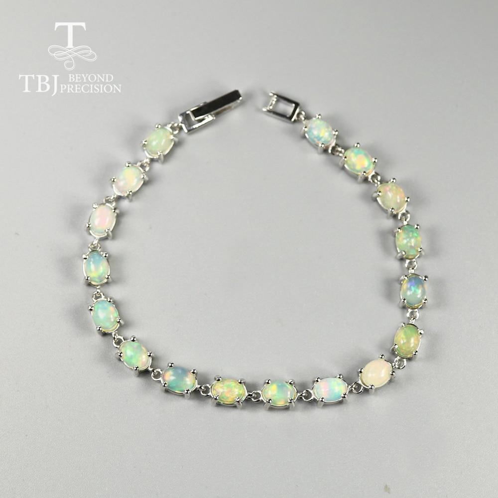 12ct Natural Opal Bracelet Good Quality Fire Opal Ethiopian Gemstone 925 Sterling Silver Fine Jewelry For Women Best Gift  Tbj