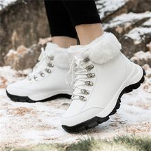 CHAMSGEND Snow boots 2019 warm fur plush Insole women winter boots square heels flock ankle boots women lace-up winter shoes(China)