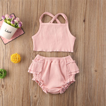 Summer Cute Infant Baby Girls Clothes Sets Ruffles Solid Sleeveless Vest Tops+Shorts Outfit 0-24M