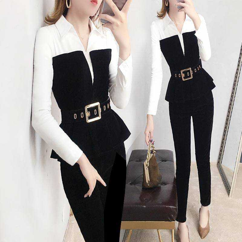 With Belt! Women Spring Spliced V Neck Blouses White Black Tops And Slim Pants Suits Elegant OL Ladies Clothing Set NS244