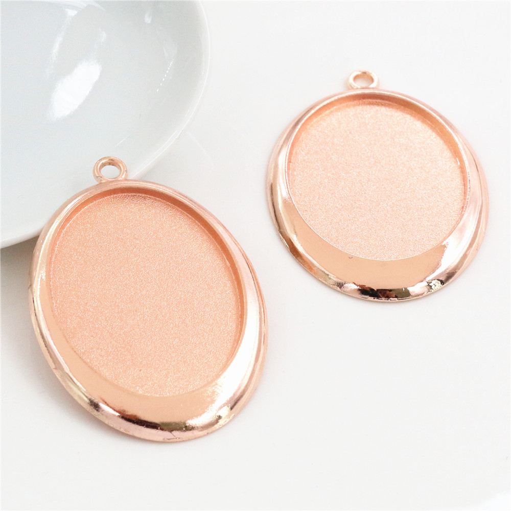 High Quality 5pcs 30x40mm Inner Size Rose Gold Color Cabochon Base Setting Charms Pendant (B5-29)