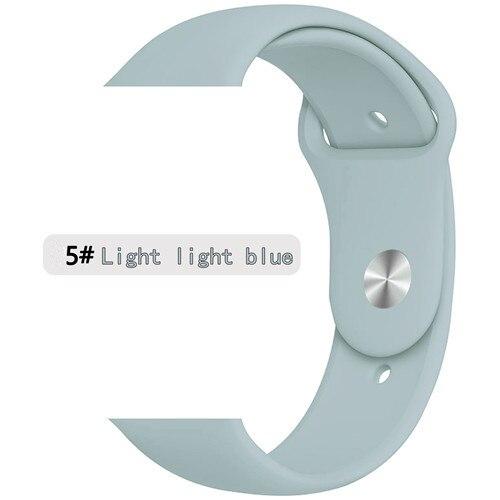 Ремешок для apple watch band 44 мм/40 мм iwatch band 5 4 42 мм 38 мм correa pulseira watch band для apple watch 5 4 3 браслет 44 мм - Цвет ремешка: light light blue 5