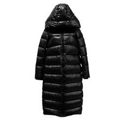 Chaqueta de invierno tipo capullo larga hasta la rodilla chaqueta de mujer negro brillante grueso aislamiento frío con capucha de pato blanco