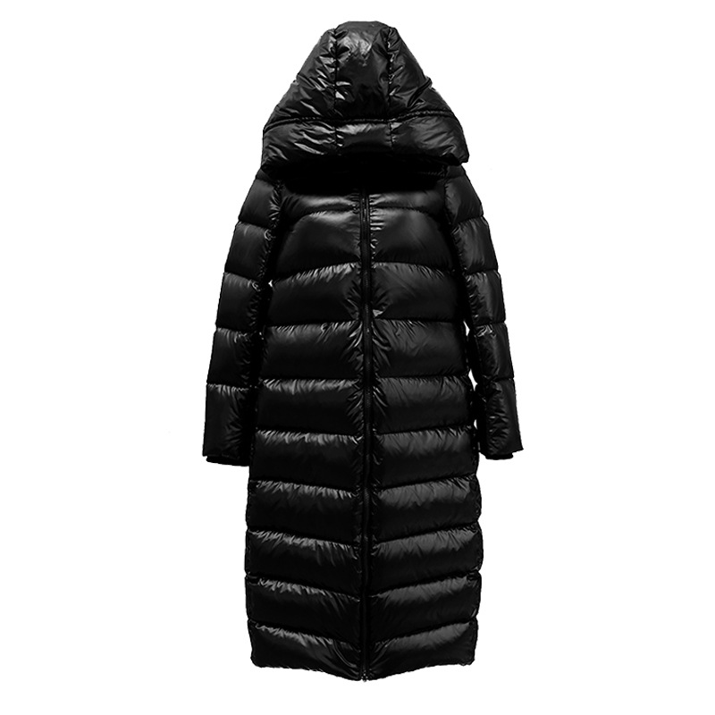 Winter Cocoon Type Long Knee Down Jacket Women's Black Bright Thickened Cold Insulation Hooded White Duck Down Jacket