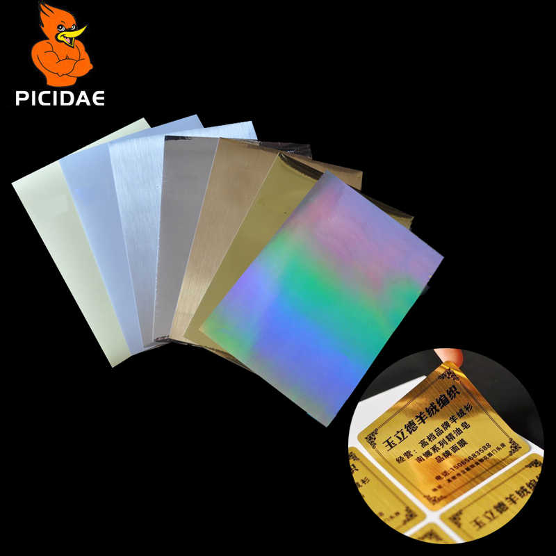 A4 PET Coating Transparent Film Water Proof Oil Tear Scratch Sticker Matt Silver Gold Wire Drawing Paper Label Laser Printer