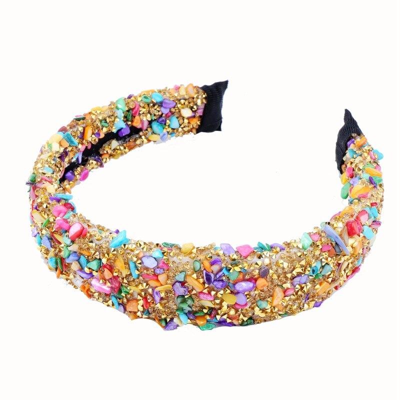 Personalisierte Natürliche Kristall Stein Stirnbänder Bunte Stud Strass Starke Frauen Stirnband Party Haarband Crown Haar Zubehör