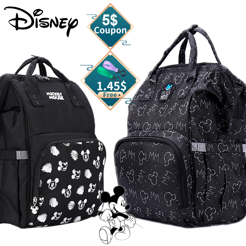 Disney Backpack Organizer Diaper-Bag Stroller Mommy-Bag Mickey New-Design Large-Capacity