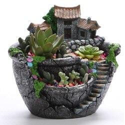 Succulent Plants Planter Flowerpot Resin Flower Pot Desktop Potted Holder Home Garden Decoration Plants Holder