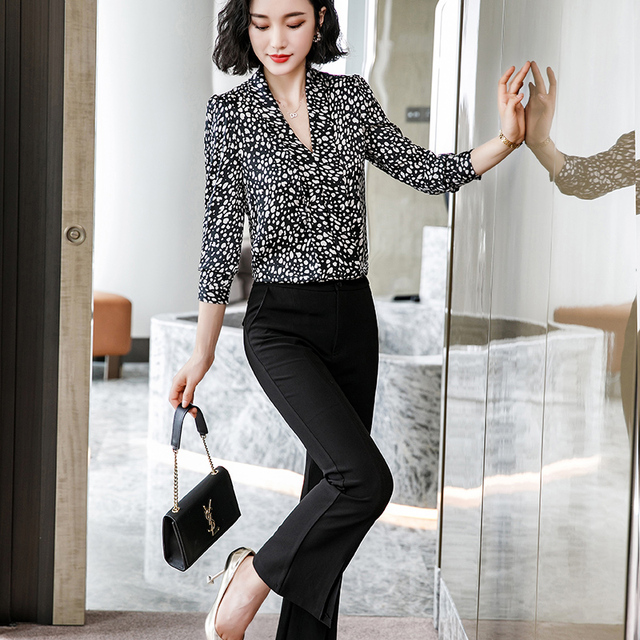 Lenshin Leopard Pattern Loose Shirt Breathable Soft V-neck Draped Blouse Women Female Wear Casual Style Office Lady Tops 3