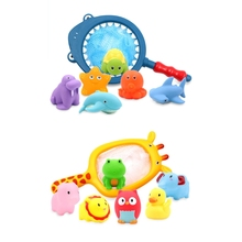 Floating Animal Shaped Baby Bath Squirt Toys Toddler Salvage Toy Set Water Games Float Fishing Game Little Ocean Bathtub 23GD