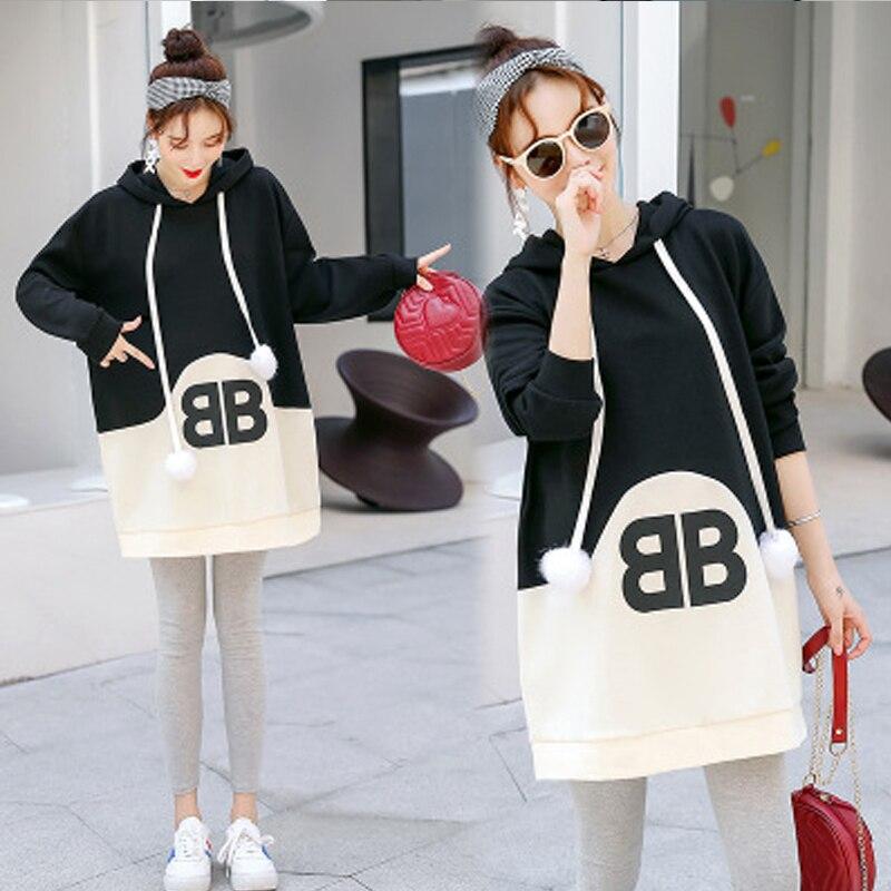 Femmes enceintes chandail à capuche Version coréenne lâche Long automne et hiver avec capuche robe chandail mode vêtement de maternité