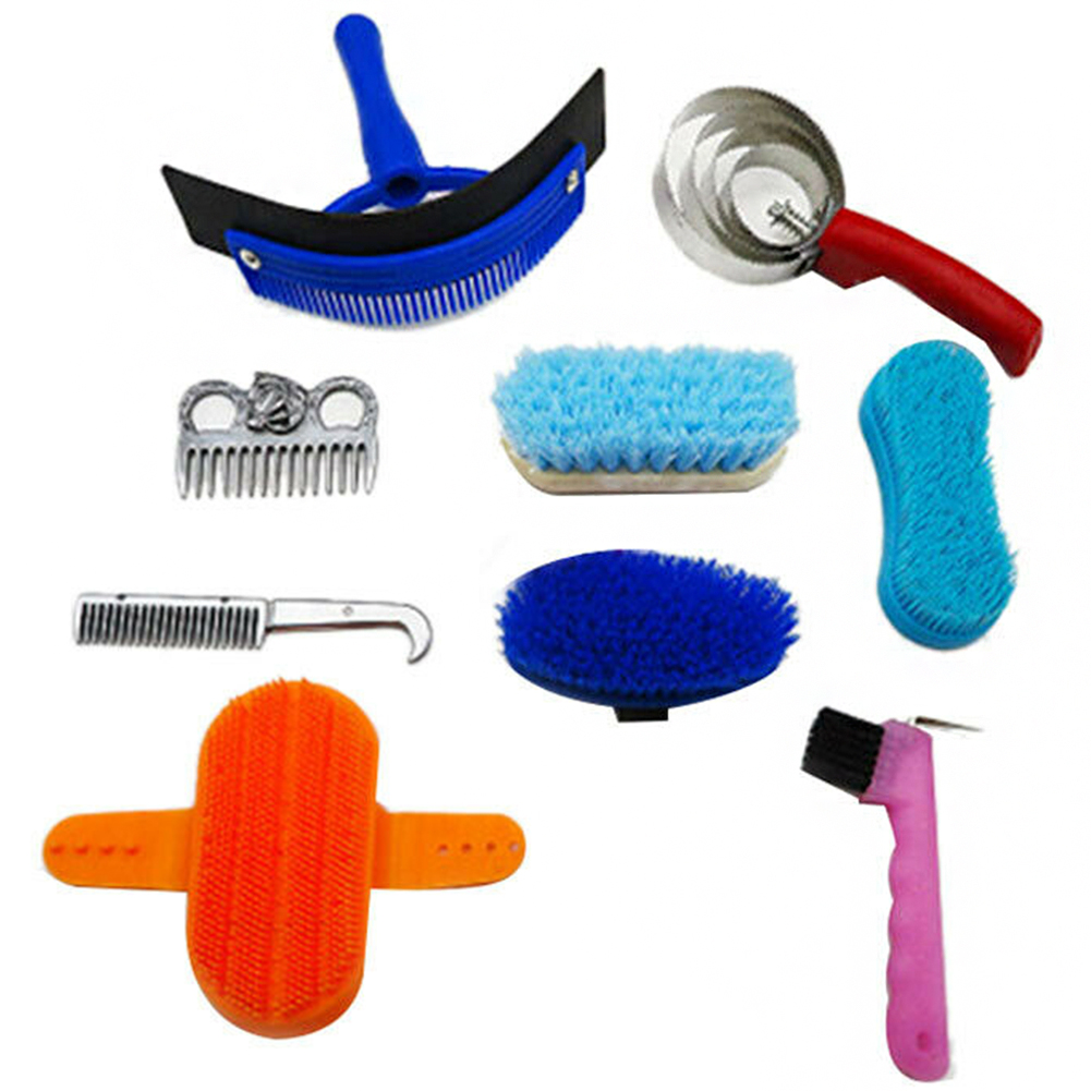10pcs Set Professional Brush Mane Massage Hoof Pick Scraper Curry Tail Horse Cleaning Kit Comb Scrubber Grooming Tool