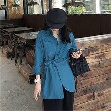 Irregular Shirt Female Lapel Collar Long Sleeve Split White Blouse Tops 2019 Autumn Fashion Women OL Clothing