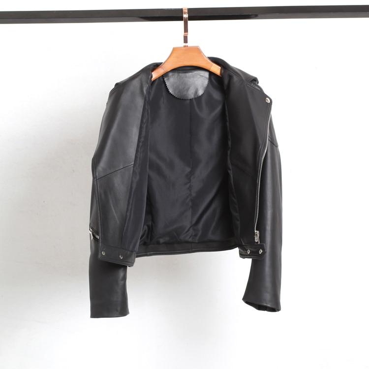 ZURICHOUSE 100% Genuine Leather Jacket Women Short Fashion Motorcycle Biker Zipper Jacket Black Natural Sheepskin Coat