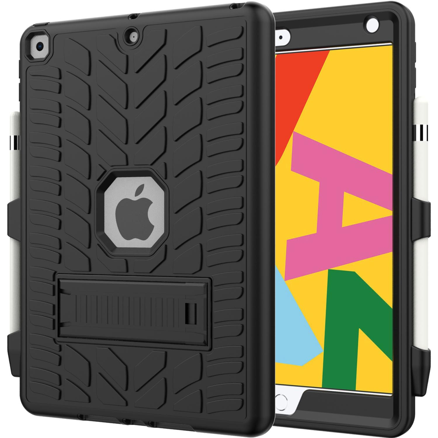 1 Red For iPad 8th Generation 10 2 Case 2020 with Pencil Holder Tire Pattern Shockproof Hard PC