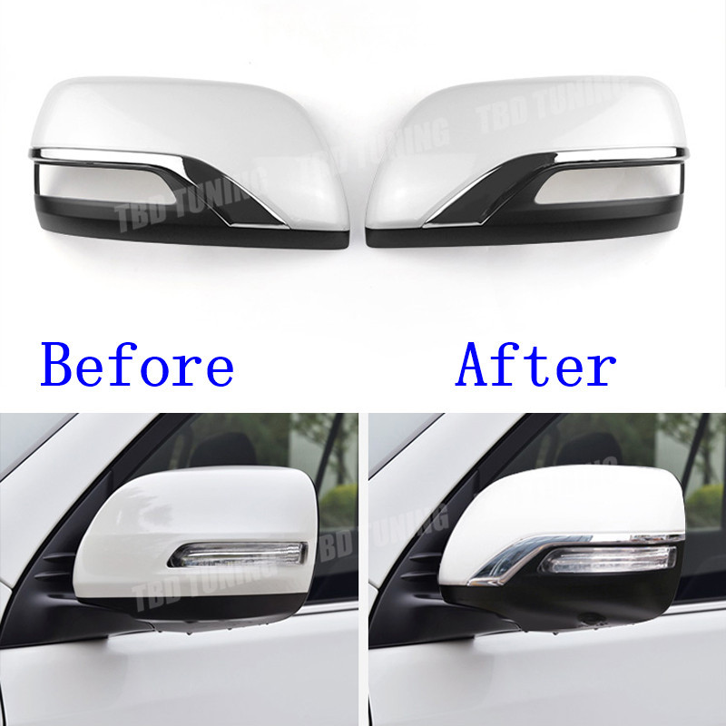 Mirror Cover For Toyota <font><b>Land</b></font> <font><b>Cruiser</b></font> <font><b>LC200</b></font> 2016 <font><b>2017</b></font> 2018 ABS And Chrome Plated Rear Side View Mirror Cover image