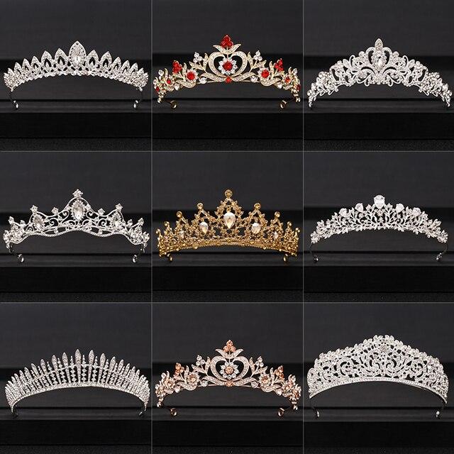 Korona ślubna ozdoba ślubna do włosów złoty kolor srebrny barokowy kryształ diadem i korony panna młoda korona na przyjęcie ślubne akcesoria do włosów