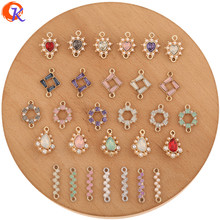 Cordial Design 200Pcs Jewelry Accessories/DIY Making/Earrings Connectors/Rhinestone Charms/UV Plating/Hand Made/Earring Findings