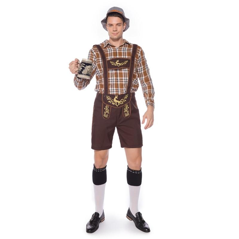 Men's Oktoberfest Costumes Traditional German Lederhosen Bavarian Beer Male Cosplay Halloween Party Clothes