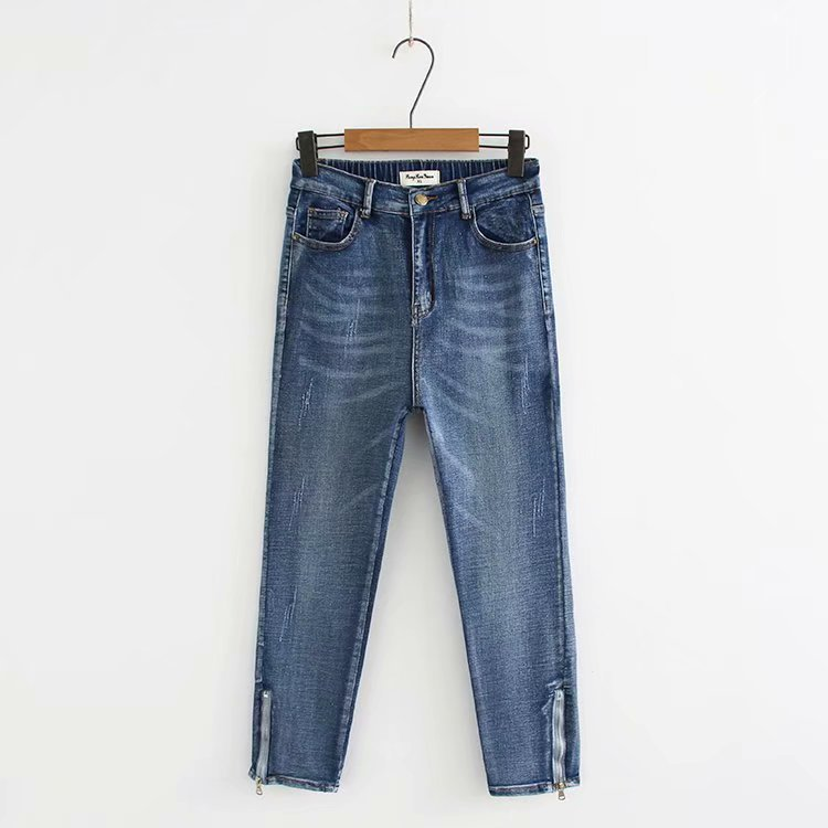 Plus Size Casual Jeans 2019 Autumn Women Fashion Loose Leg Opening Zipper Stretch Denim Ankle-Length Pants G6-A59