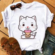 Новая свободная футболка Харадзюку с изображением белого кота