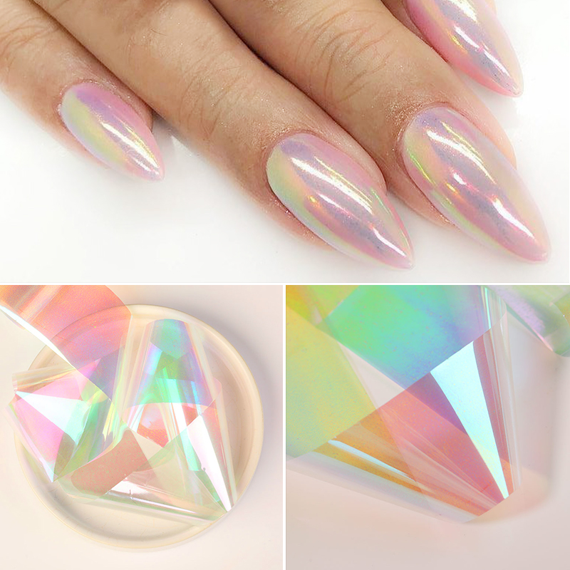 1 Box Holo Glass Nail Paper Sticker Foil Nails Colorful White Dazzling Series Bright Decals Nail Art Transfer Sticker Decoration|Stickers & Decals|   - AliExpress