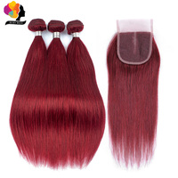 99J Colored Peruvian Straight Remy Hair Bundles With Closure 100% Human Hair Weaving Burgundy Bundles With Closure Remyblue Hair