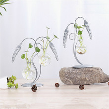 2pc/lot Retro Rice Flower Spike Creative Hydroponic Vase Green Radish Glass Bottle Water Plant Container Display Home Decoration