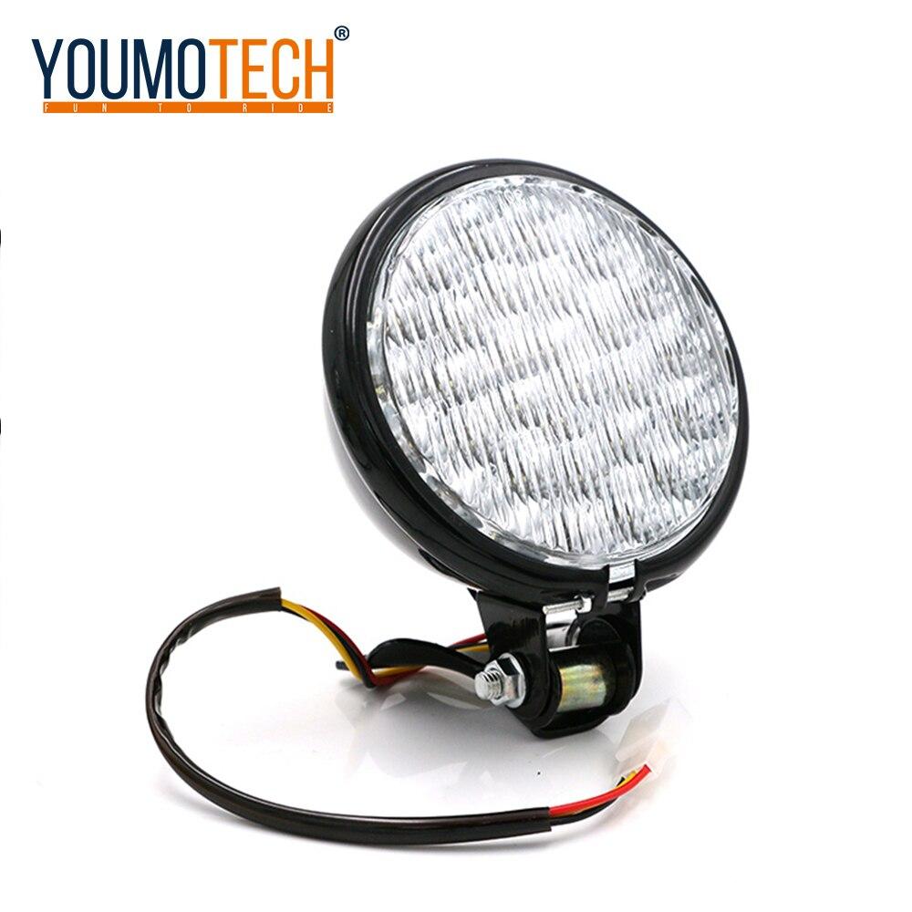 5 Inch 12V Universal Led Retro Metal Motorcycle Headlight High/Low Beam Bulb For Halley / Suzuki Cafe Racer Headlamp
