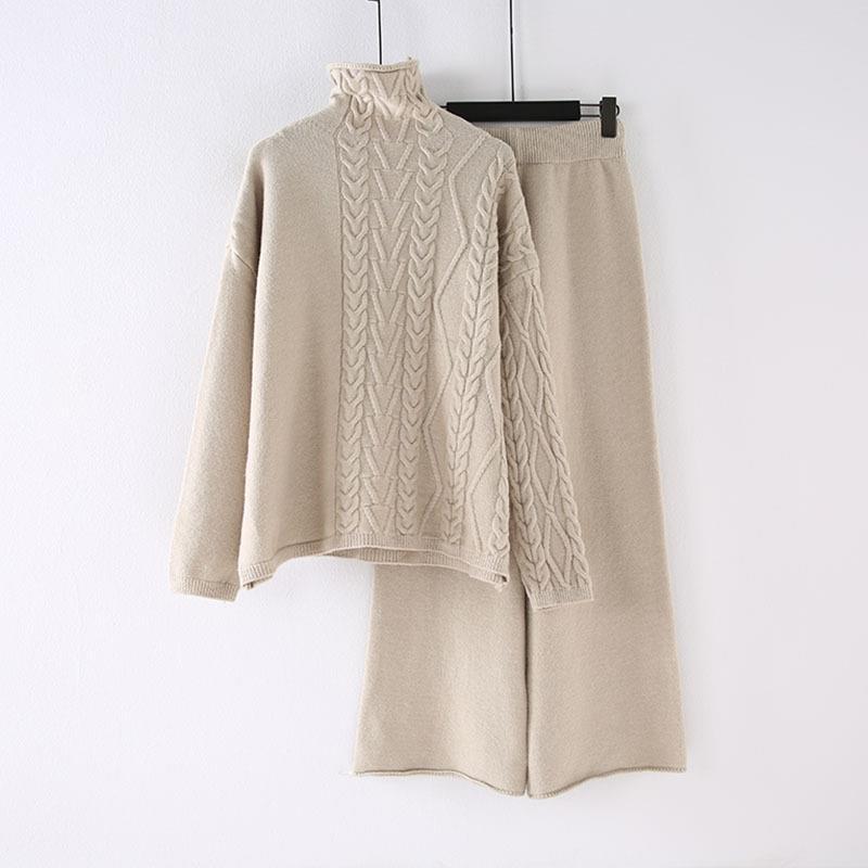 Winter Pullover Hohe Taille Hosen Zwei Stück Set Casual Frauen Rollkragenpullover Breite Bein Hosen Strick Anzug Lange Feste Outfits - 4
