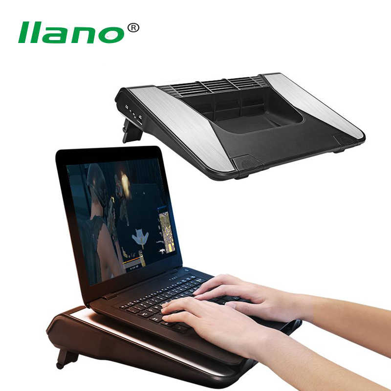 LLANO 17Inch Laptop Cooler Logam Sumbu Horizontal Turbo Fan Laptop Cooling Pad Rendah Desibel Notebook Radiator Berdiri