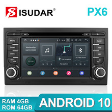 Isudar PX6 2 Din Android 10 Radio Coche Con Pantalla Para Audi/A4/S4 2002-2008 Automóvil Reproductor Multimedia DVD GPS 6 Núcleos RAM 4GB ROM 64GB Altavoces Manos Libres Bluetooth Subwoofer Mandos Del Volante 4G GPS