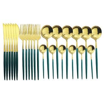 24Pcs Green Gold Cutlery Set Mirror Colorful Flatware Set 304 Stainless Steel Dinnerware Set Kitchen Silverware Gold Tableware