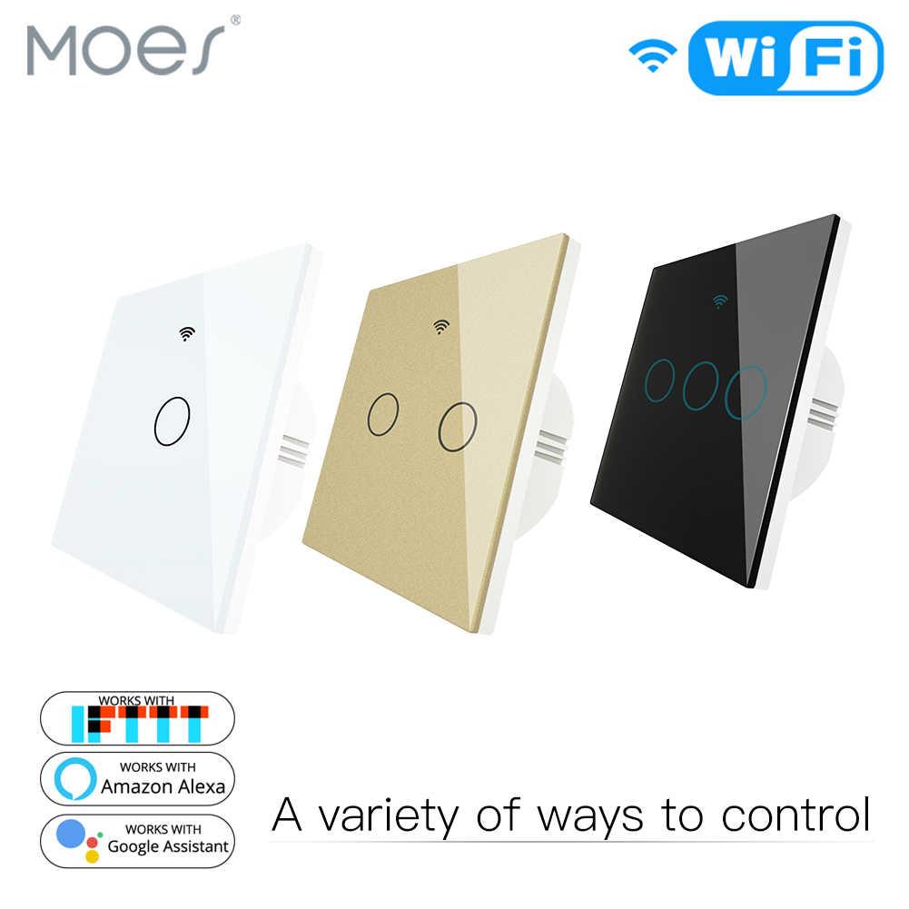 Akıllı anahtar WiFi RF433 uzaktan kumanda cam Panel ışık anahtarı akıllı yaşam Tuya Alexa Echo ile çalışır Google ev ab 1/ 2/3 Gang
