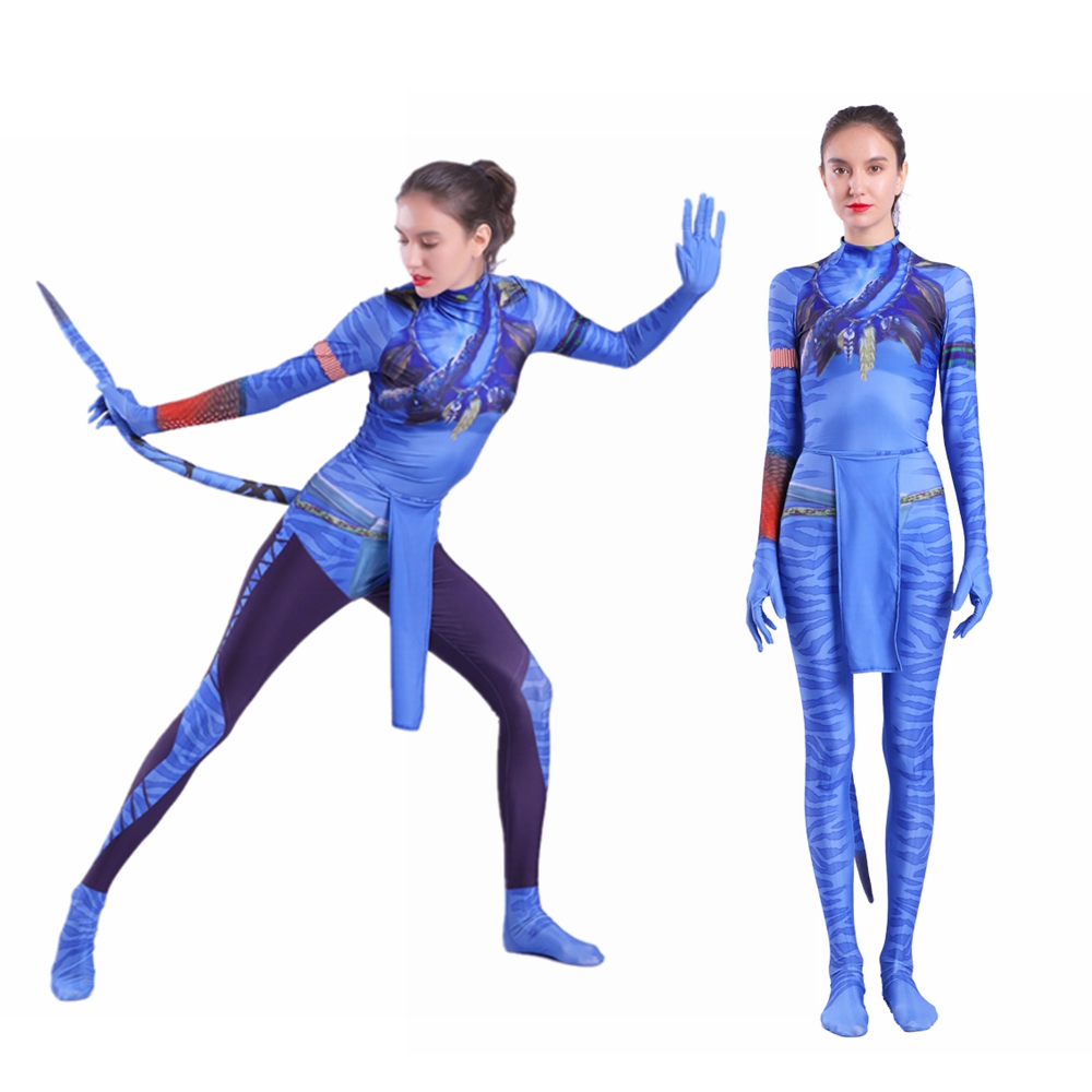 Movie Avatar 2 Jake Sully Neytiri Cosplay Costume With Tail Zentai Bodysuit Jumpsuits Suit Halloween Carnival For Women Girls