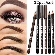 2021 nouveau Offre Spéciale 12 pièces étanche Crayon À Sourcils Noir Marron Stylo À Sourcils Longue Durée Maquillage Livraison Directe