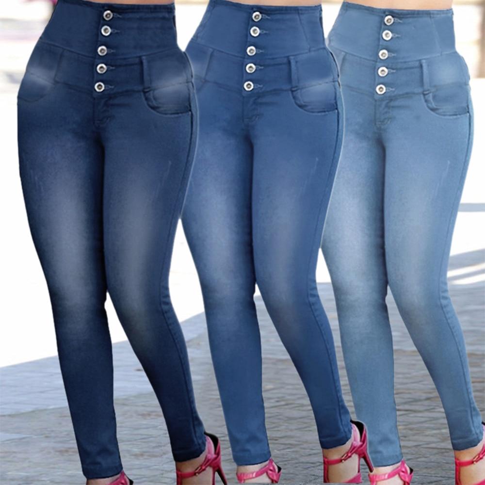 NIBESSER High Waist Women Jeans Buttons Female Pant Slim Elastic Plus Size Stretch Jeans Plus Size Denim Blue Skinny Pencil Pant 1