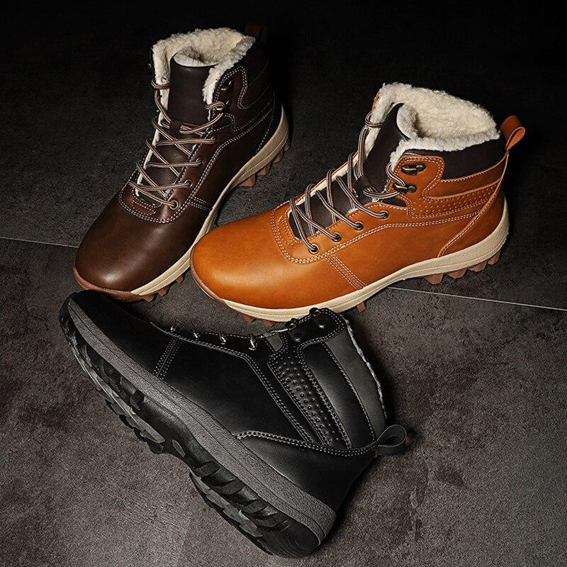 SURGUT Men Boots Split Leather Lace-up Men Shoes High Quality Vintage British Snow Boots Autumn Winter Men Casual Ankle Boots