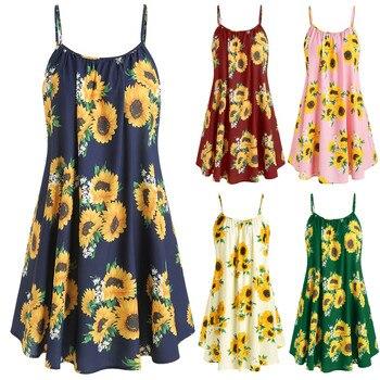 women Sunflower Print dress Crisscross Back A Line Cami Dress Summer Spaghetti Strap Dress High Waist Sleeveless Dresses #w 1