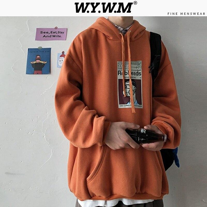 WYWM 2020 Japanese Hooded Sweatshirt Man Sweatshirt Print 6 Colors Tops Spring Big Pocket Oversized Pullover Outdoor Streetwear