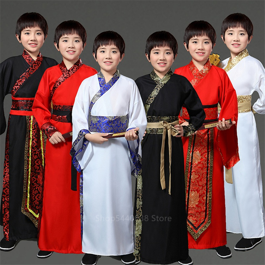 Kids Ancient Hanfu Traditional Chinese Style Boys Stage Performance Dance Costume Tang Dynasty Oriental Embroidery Clothing