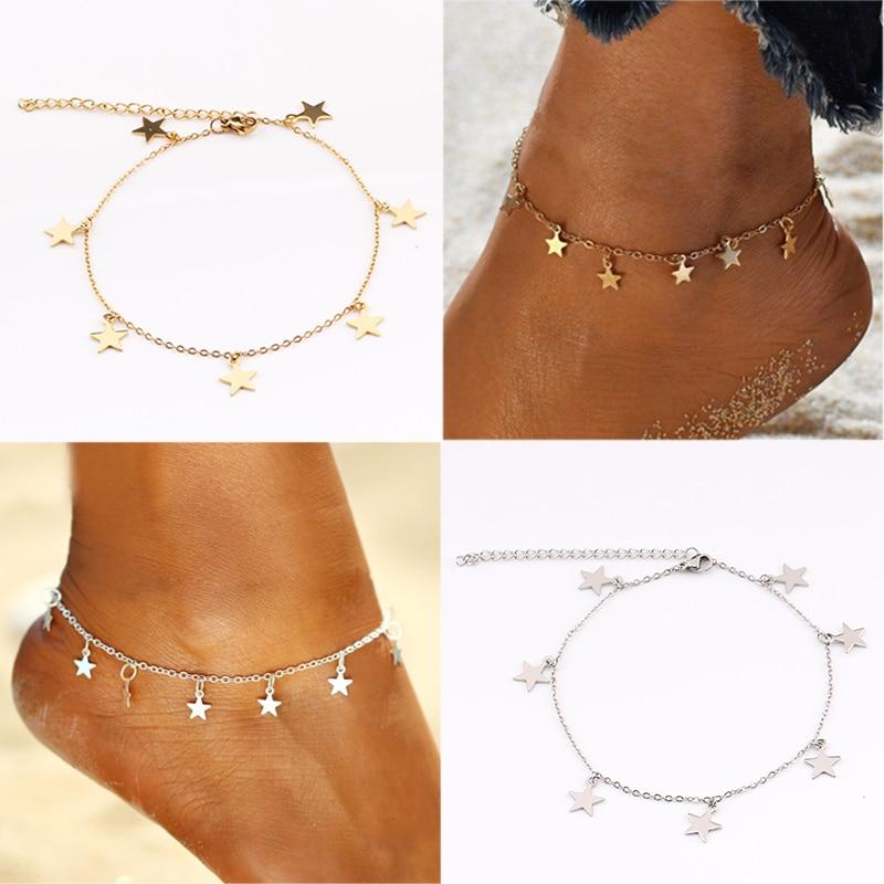 Simple female Silver Bohemian Beach Barefoot Anklets Crochet Bracelet Sandals Golden Round Tassel Foot Chain Woman Leg Chain