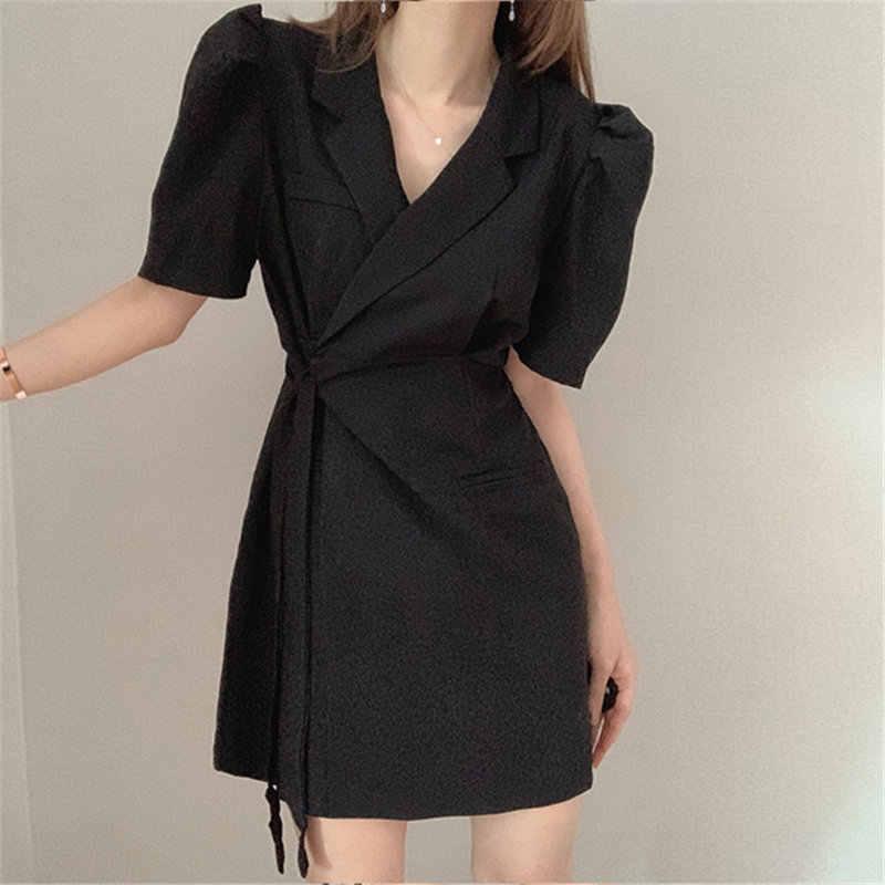 HziriP çentikli katı OL seksi şık moda ince sıcak yüksek sokak 2020 kadın yaz kısa kollu yüksek kaliteli Mini elbiseler vestidos
