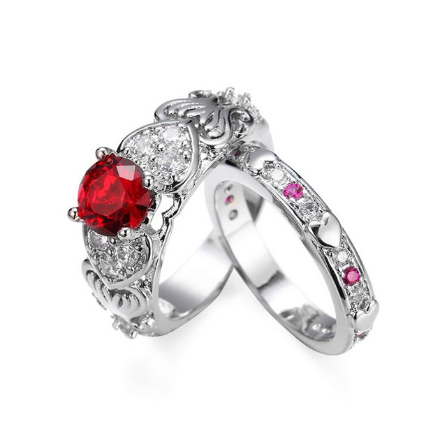 2/pc Romantic Heart Shape Crystal Engagement Wedding Ring for Women Pink/Red Gems Sets Ring for Anniversary Party Jewelry Gifts 2