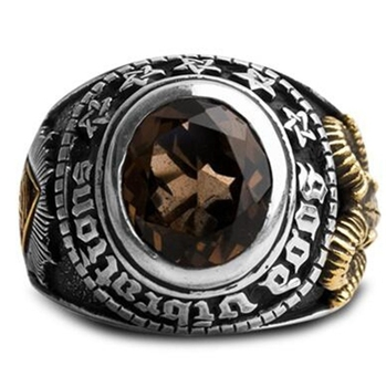 Classic Men's Fashion Metal Retro Punk Rock Masonic Eye Ring Men's Wild Prom Ring image