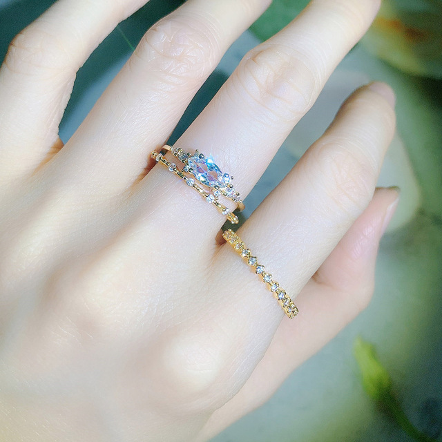 Tiny Small Ring Set For Women Gold Color Cubic Zirconia Midi Finger Rings Wedding Anniversary Jewelry Accessories Gifts KAR229 4